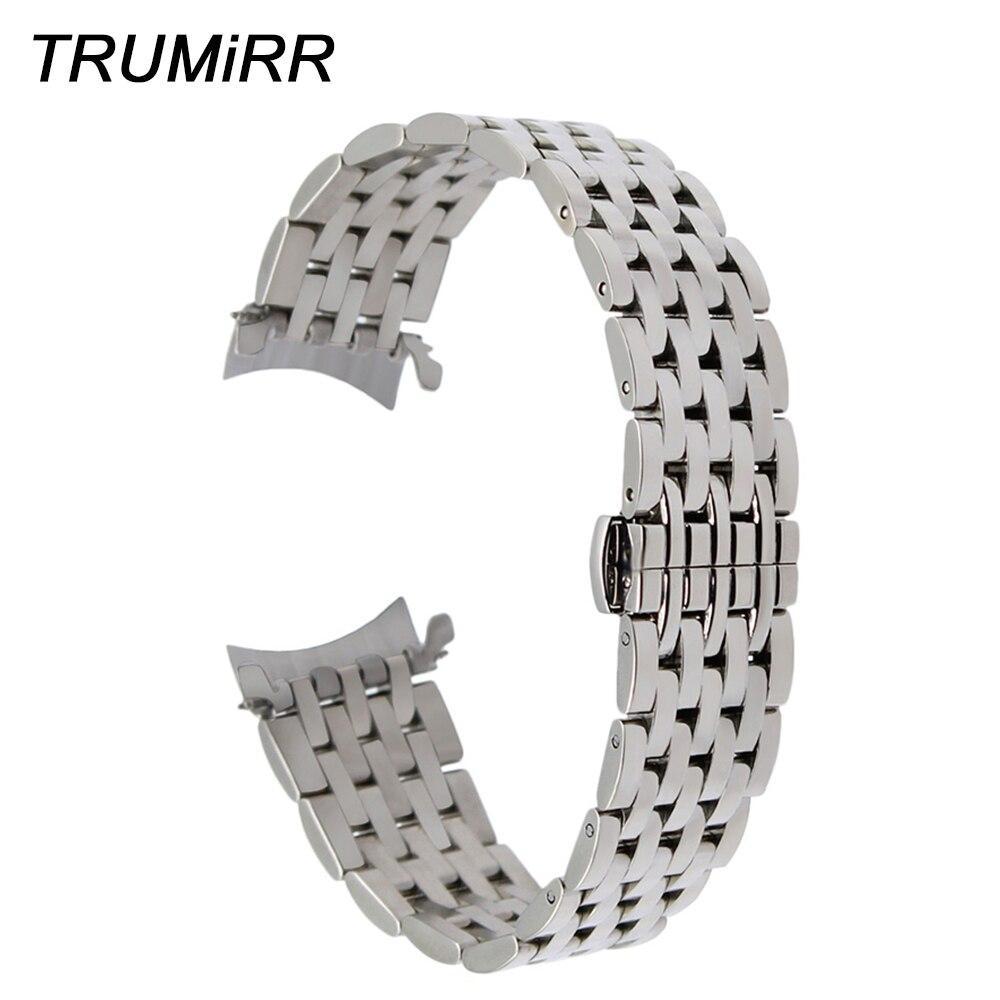 3bd99dad9b3 Comprar Correa de reloj de acero inoxidable de extremo curvo para Tissot  PRC200 T055 T063 T035 T097 pulsera de plata negra 18mm 20mm 22mm Online  Baratos