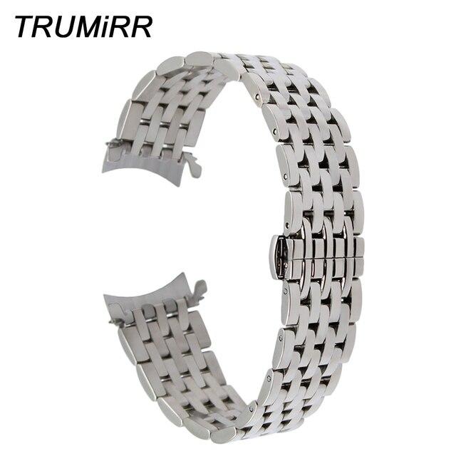 Kavisli Ucu Paslanmaz Çelik saat kayışı Tissot için PRC200 T055 T063 T035 T097 Bilek Kayışı Braceelet Gümüş Siyah 18mm 20mm 22mm
