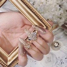 10pcs/lot 3D alloy Zircon Nail art Accessories luxury crystal Chain nails jewelry top-level nail beauty Charms For Wedding B080