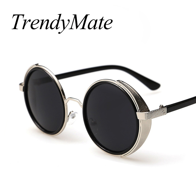 Fashion Metal Frame Gothic Steampunk font b Sunglasses b font Women Unique Men Round Coating Sun