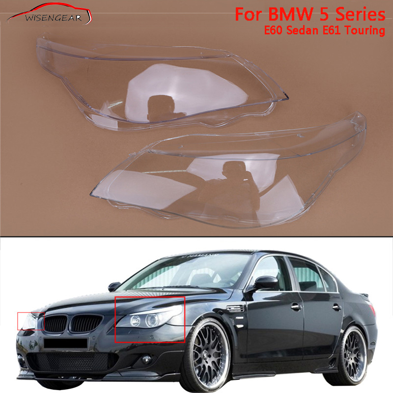 WISENGEAR Front HeadLight Lens Cover Head Lamp Shell For BMW 5 Series E60 Sedan E61 Touring 520i 523i 525i 530i 545i 550i C/5