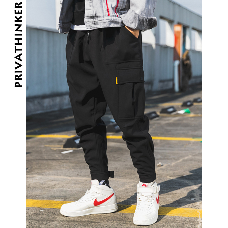 Privathinker Men Wool Black Joggers Pants Thick 2018 Mens Big Pockets Ankel Cargo Pants Male Fall Streetwear Overalls Sweatpants