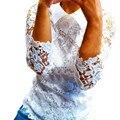 New 2017 Summer Female Ladies White Blusas Women's Long Sleeve Lace Crochet Tops Blouse Women Clothing Feminine Blouse Plus Size