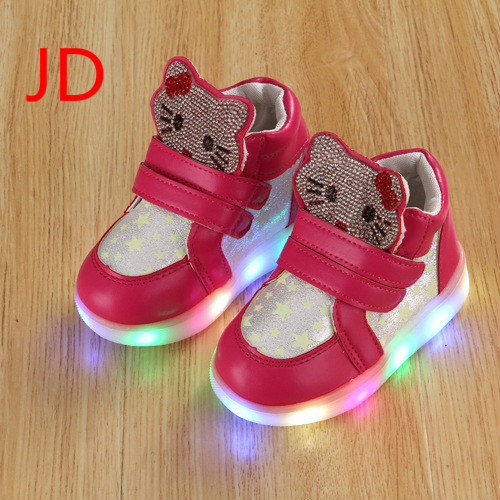 New Spring Autumn Winter Children&#8217;s Sneakers Kids Shoes <font><b>Chaussure</b></font> <font><b>Enfant</b></font> Hello Kitty Girls Shoes with <font><b>LED</b></font> Light