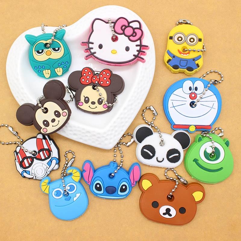 Cute Anime Cartoon Minion Key Cover Owl Bear Keychain Silicone Stitch Pendant porte clef Unisex Key Caps Minnie monster Chain