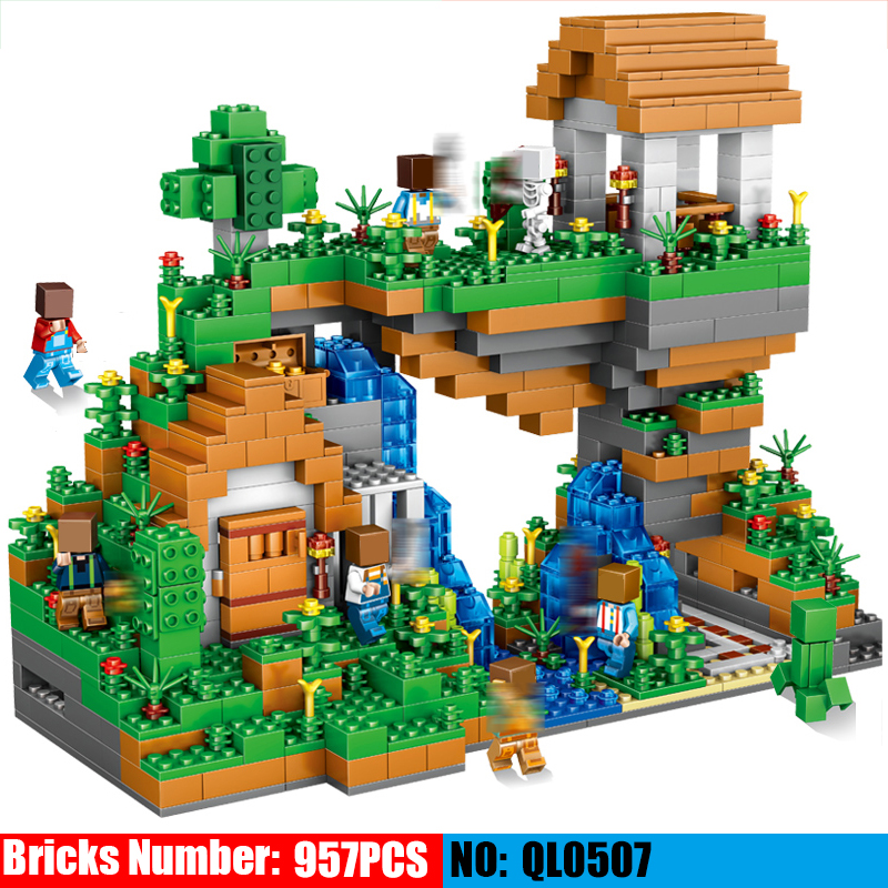 AIBOULL QL0507 My World Hidden Water Falls Building Blocks Figures Bricks Toys Educational Toys for Children Kids Minecraft City qunlong toys compatible legos minecraft city model building blocks diy my world action figures bricks educational boy girl toy