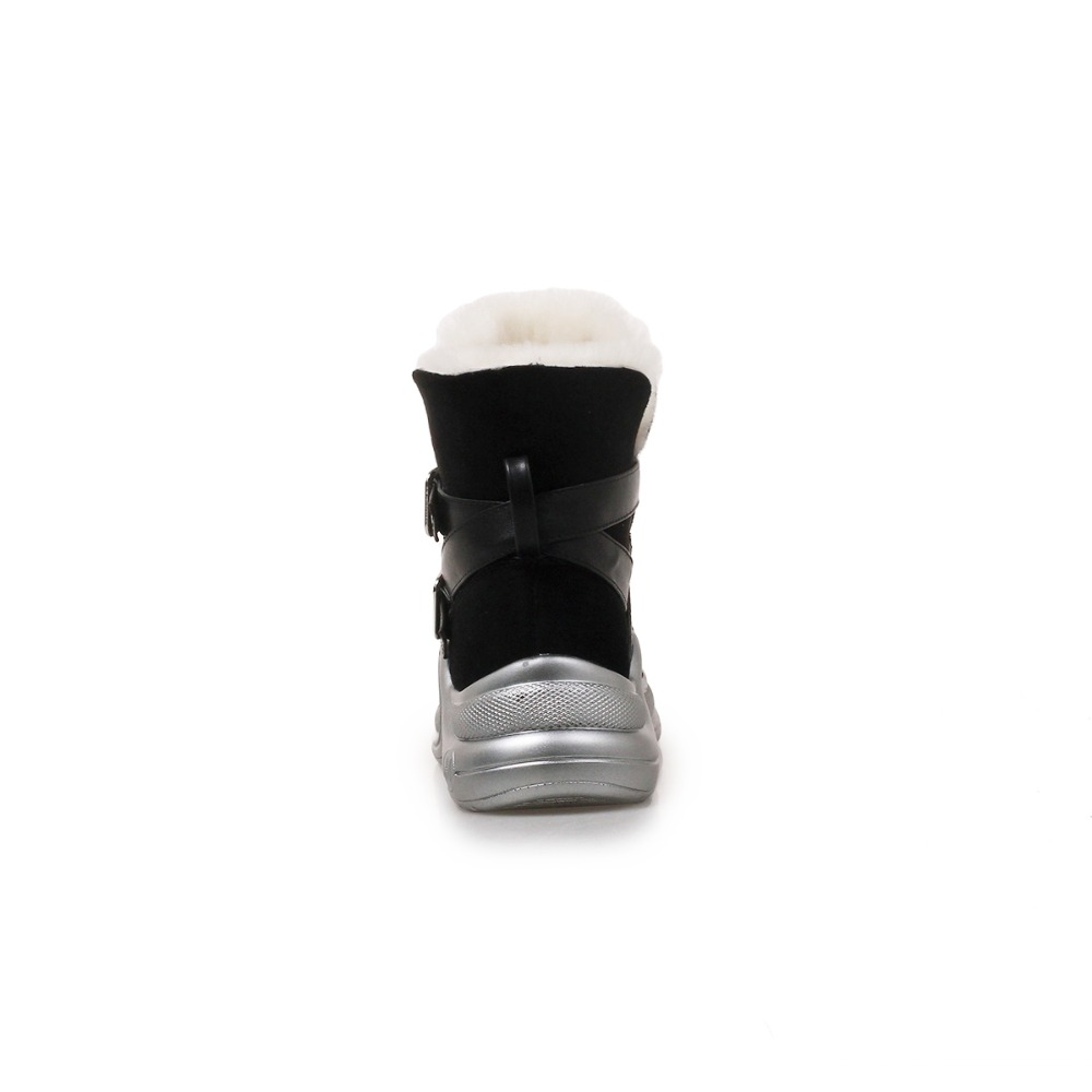 Tamaño 34 De Vellón Real Casuales Cálido Plana Invierno Más Plush Mujer 40 Kickway Thick Black Piel Botas Nieve Zapatos Plataforma p1WZ6
