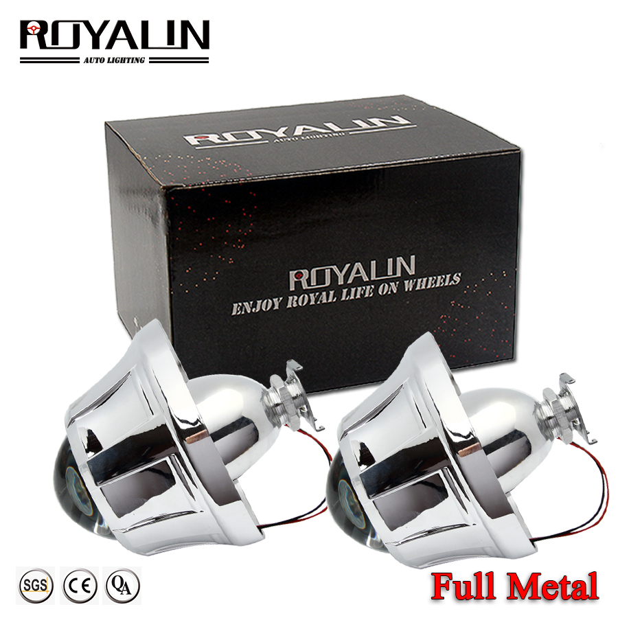 ROYALIN 3.0 Metal Lens Bi-xenon H1 HID Projector Head Lights Lens W/Pegasus Shrouds For Ford Focus Car Styling Auto H4 H7 Lamps