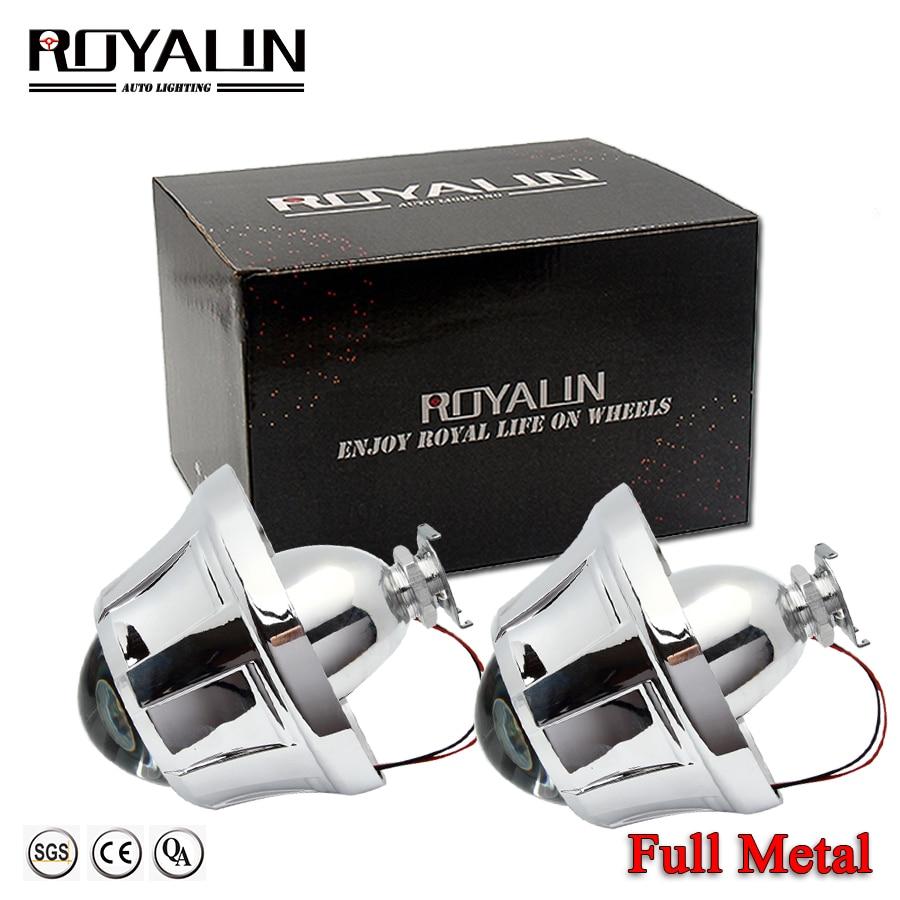 ROYALIN 3.0 Lens Metel Bi-xenon H1 HID Taflunydd Goleuadau Pen Lens w / Pegasus Shrouds Ar gyfer Lampau Auto H4 H7 Steilio Car Ford Focus