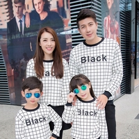 Family Matching Outfits Mom Daughter Dad Son Cotton Black White Plaid Sweatshirts Spring Autumn Children Clothing