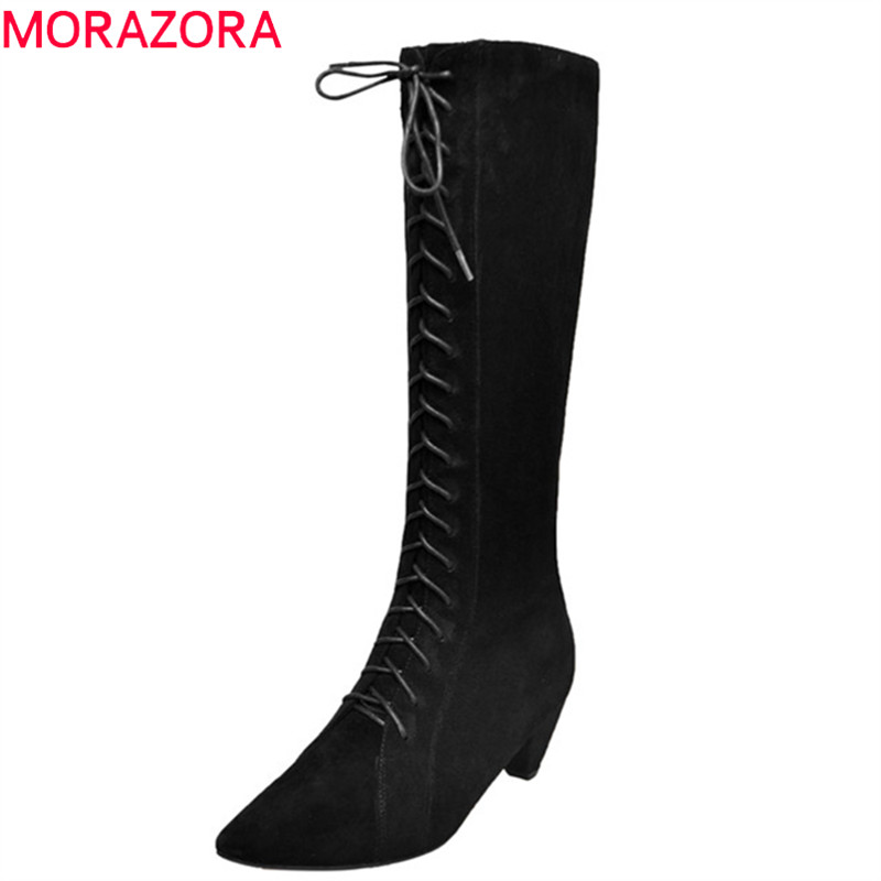 MORAZORA 2018 hot sale knee high boots women pointed toe suede leather boots lace up zipper autumn winter boots dress shoes цена