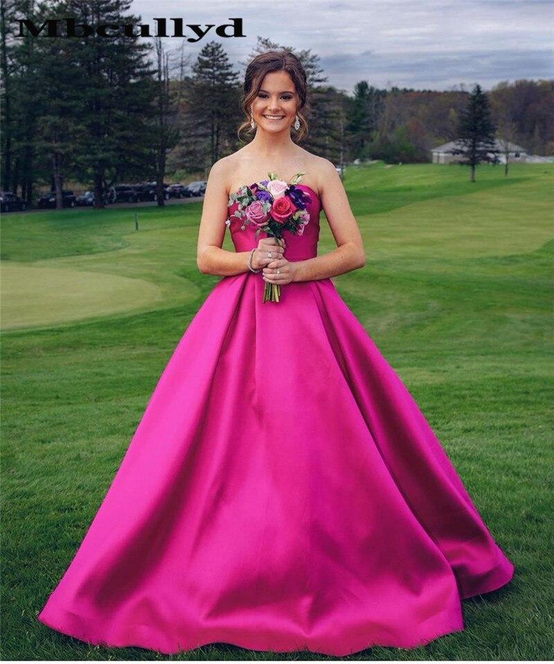 Hot Sale Pink Prom Dress Long 2019 A-line Satin Vestido De Formatura Diamonds Sweep Train Women Formal Party Dress Back Lace Up