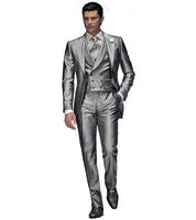 Fashionable Shiny Silver Groom Tuxedos Mens Wedding Prom Party Business Suits Blazer Sets (Jacket+Pants+Vest+Tie) K:767