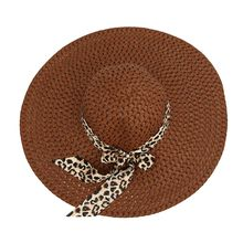 Womens Summer Straw Sun Hat Wave Point Hollow Out Extra Wide Brim Bucket Cap Retro Leopard Ribbon Bowknot Sweet Candy Color