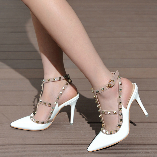 High Quality Brand Designer Rivet Shoes 10cm Patent Leather Studded Slingback Heels Sandals Sexy Women High Heels Sandals Pumps