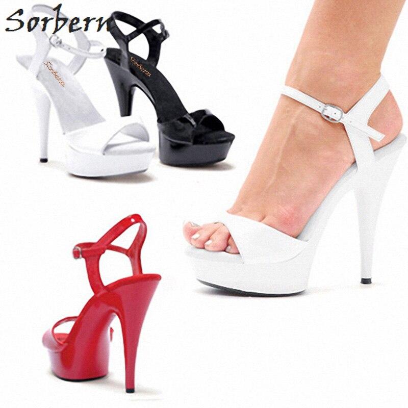 Sorbern High Heel Sandals Women Platform Shoes Ankle Strap Summer Open Toe Ladies Sandals Custom Color Designer Kitten Heels