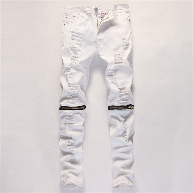 5e1834e1c6f Knee Zipper Skinny Jeans Men Slim Straight Ripped Hole Distressed Jeans Hip  Hop Male Stretch Cotton White Red Black Pants