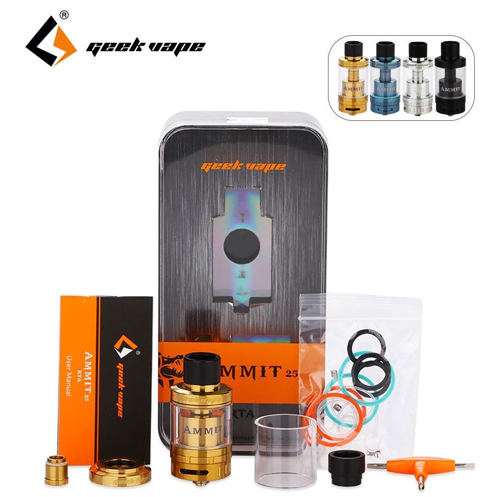 100% Originale GeekVape Ammit 25 RTA Atomizzatore 2 ml Serbatoio 5 ml Atomizzatore Migliorata 3D Sistema di Flusso D'aria Aggiornamento Ammit RTA enorme Vape