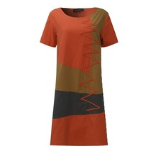 ZANZEA Women Vintage Print Dress 2016 Summer Ladies O Neck Short Sleeve Splice Casual Loose Dress Mid-Calf Vestidos Plus Size