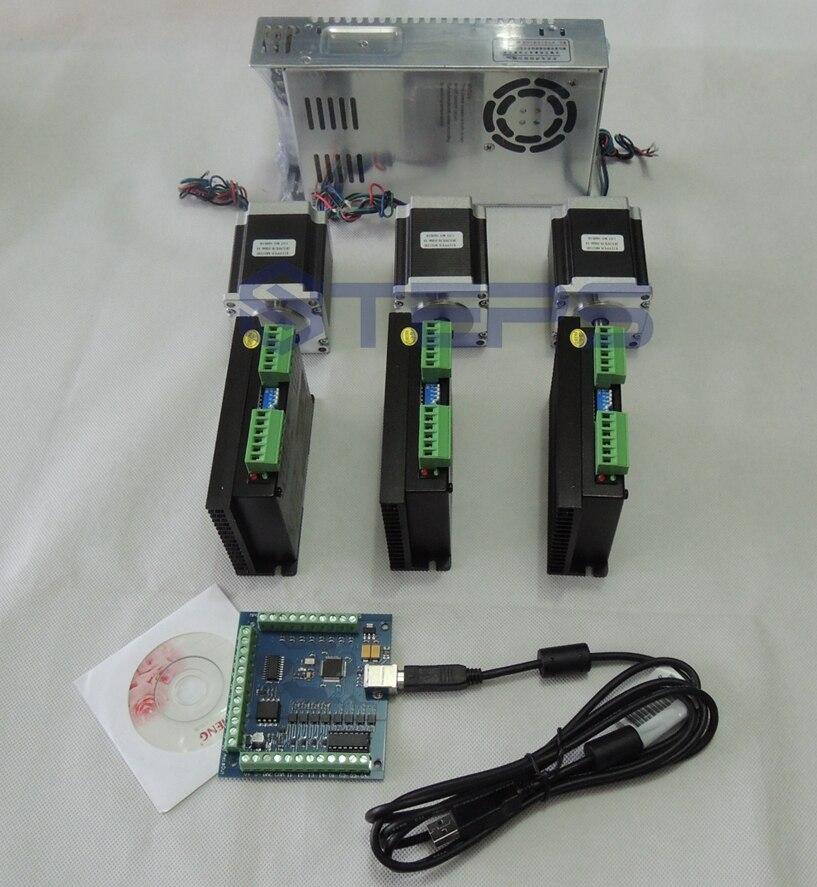 CNC mach3 usb 3 Axis Kit,3pcs ST-M5045 stepper motor driver+4 Axis USB CNC Controller+3pcs nema23 motor+36V power supply cnc mach3 usb 4 axis kit 4 axis driver 2dm542 mach3 4 axis usb cnc stepper motor controller card 100khz