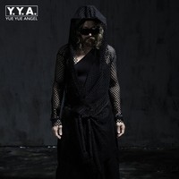 Gothic Horror Hooded Mesh Hollow Out Mens T Shirt Solid Black Loose Sashes Adjustable Waist Long Sleeve Fashion Male Tees Tops