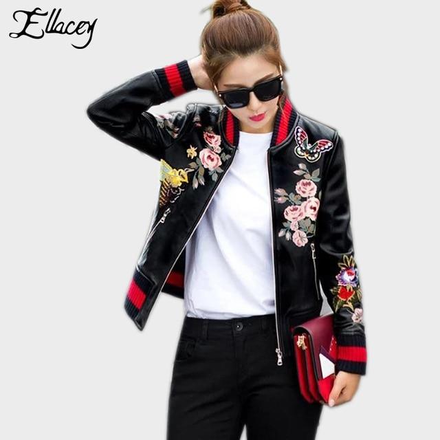 New Arrival 2018 Sukajan Souvenir Motorcycle PU Leather Jacket Women Short  Floral Printed Embroidery Baseball Varsity