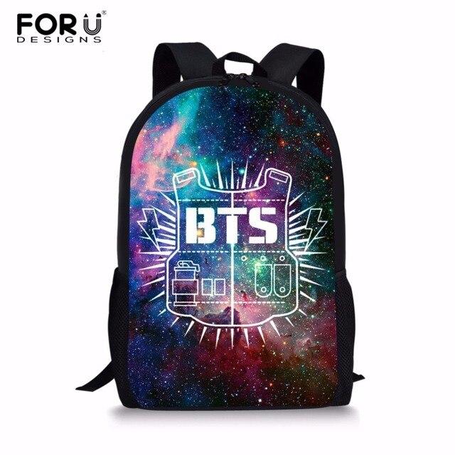 Aliexpress.com : Buy FORUDESIGNS Galaxy BTS Print Backpacks Children Bookbag Girls School Bag ...