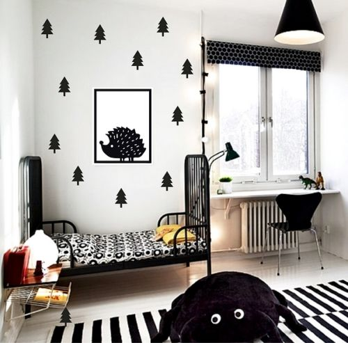 Scandinavian Style Kids Room: Hedgehog With 12pcs Tree Wall Stickers Scandinavian Style