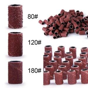 Image 1 - 80# 120# 180# Nail Art Sanding Bands For UV Gel Acrylic Polish Remover For Electric Nail Machine Nail Drill Bits Nail Accessory