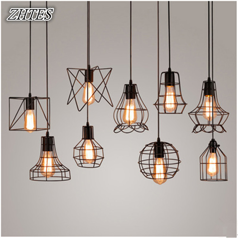 Loft Retro Industrial Restaurant Pendant Light Creative Personality Bar Iron Bird Cage Small Hanging Lights talent designer loft retro bar restaurant bar iron warehouse european simple industrial control creative pendant light