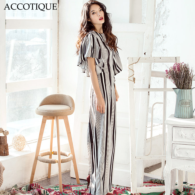 High Quality 2017 New Spring Summer Womens Striped Butterfly Sleeve Maxi Dress Lady Plus Size Split