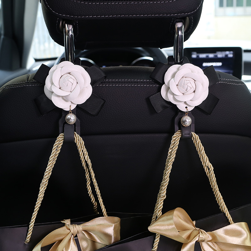 2pcs/lot Camellia Flowers Car Seat Back Hooks Hangers Organizer Headrest Mount Storage Hooks Clips Styling Car Accessories