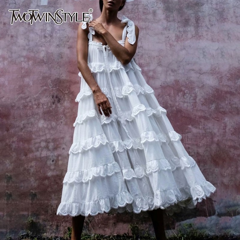 TWOTWINSTYLE Elegant White Women Dress Off Shoulder Sleeveless Ruffles Oversized Long Dresses Female Fashion Clothes 2019 Summer