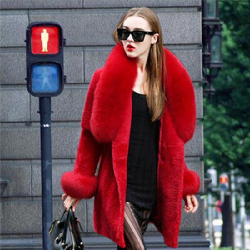 Potongan Euramerican gaya musim dingin musim semi wanita mantel bulu domba  geser mantel bulu rubah colar bulu lengan panjang mantel besar.US  47.50 d1991e33b5