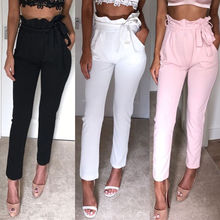 2019 Women High Waist Pencil Pants Female Solid Casual Stretch Skinny Trousers Elegant Pockets With Bow Belt