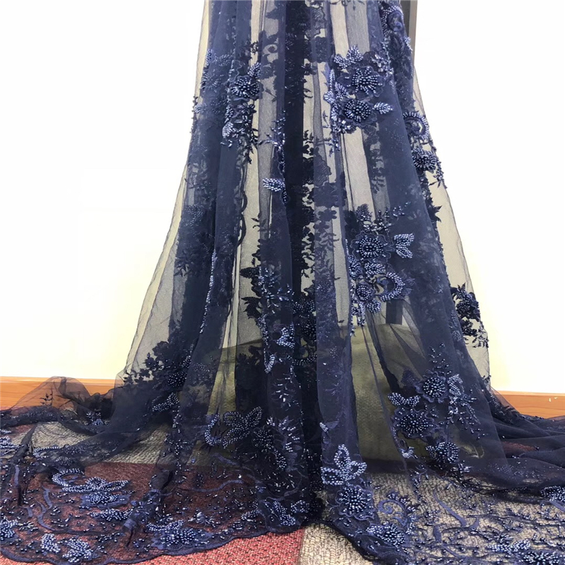 2018 Latest Pearls French Nigerian Laces Fabrics High Quality Tulle African Laces Fabrics Wedding African French Tulle Lace