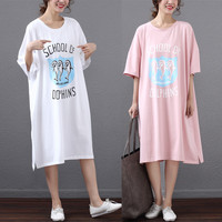 Ultralarge short sleeve nightgown summer fashion hiphop plus size sleepwear female 100% cotton long design t shirt nightgown