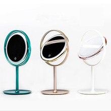 Metal circular led makeup mirror lamp desk creative folding custom new product launch