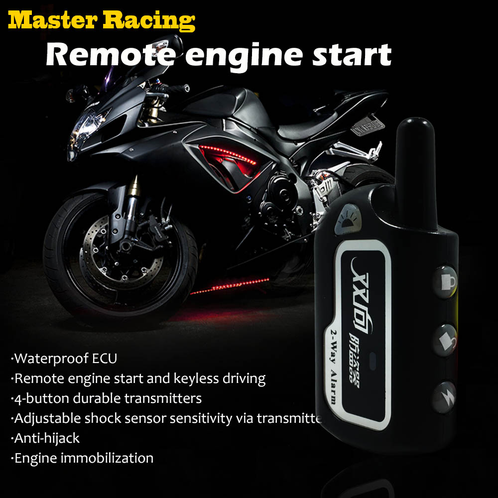 Motorcycle Two 2 Way Security Alarm System Motorbike Scooter Anti-theft Protection Remote Engine Start Vibration Alarm цена 2017