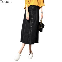Long Skirt Women Large Size Denim Skirts Casual Female Ladies Single Breasted A Line Long Jeans