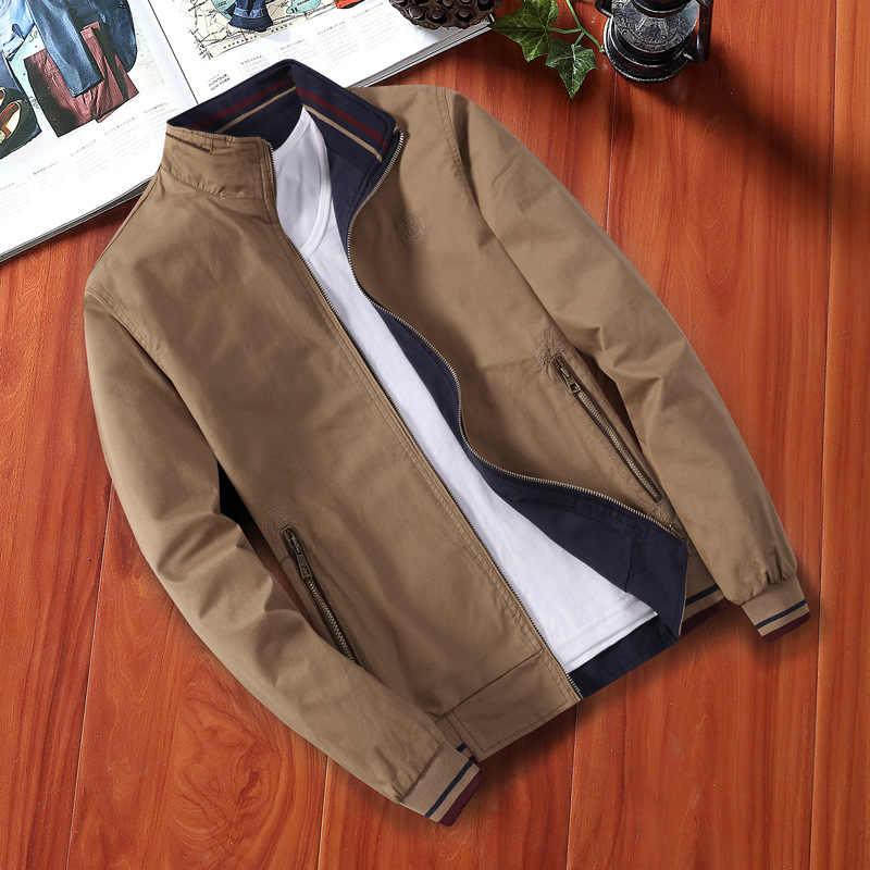 Новинка 2019 года, весенне-осенняя повседневная мужская куртка, пальто Мужская модная одежда из 100% чистого хлопка, Брендовые куртки для мужчин, Реверсивные