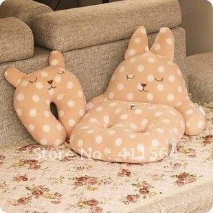 *Yolanda Wang*Super cute 1 set=rabbit U shape neck pillow+cushion for seat+cushion for waist, office use, + Free Shipping