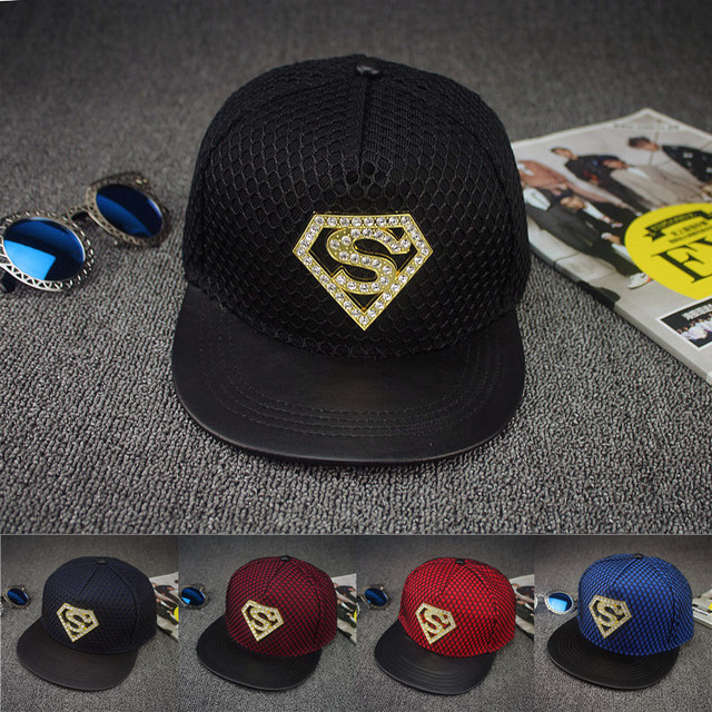 2016 Europa rhinestone Superman estilo de verano malla gorra de béisbol  para hombres mujeres adolescentes casual 597d4654f50