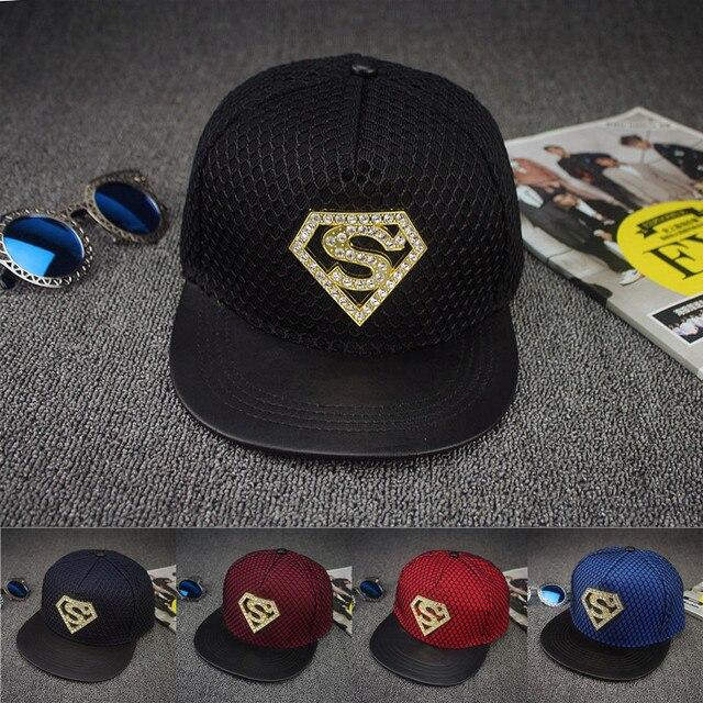 84134e2cb66 2016 Europe Rhinestone Superman style Summer Mesh Baseball Cap For Men  Women Teens Casual Bone Hip Hop Snapback Caps Sun Hats