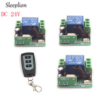 Sleeplion DC 24V 1CH Channel Wireless RF Remote 3-key Switch ON/OFF Transmitter+3 Receiver Teleswitch Module