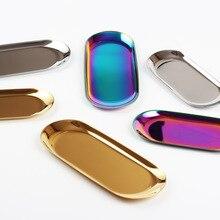 Скандинавские Инс золотые овальные тарелки Европейский Стиль Ювелирный лоток из нержавеющей стали пластина металлическая настольная таре...