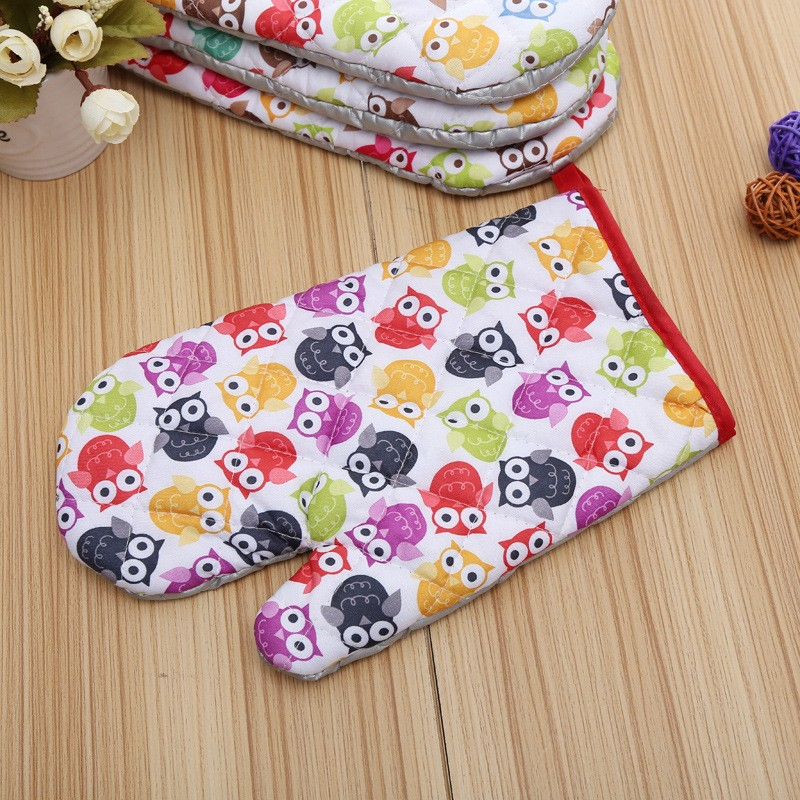 Small Owls Printed Oven Mitts for Out door BBQ or Kitchen Supplies Oven Glove (3)