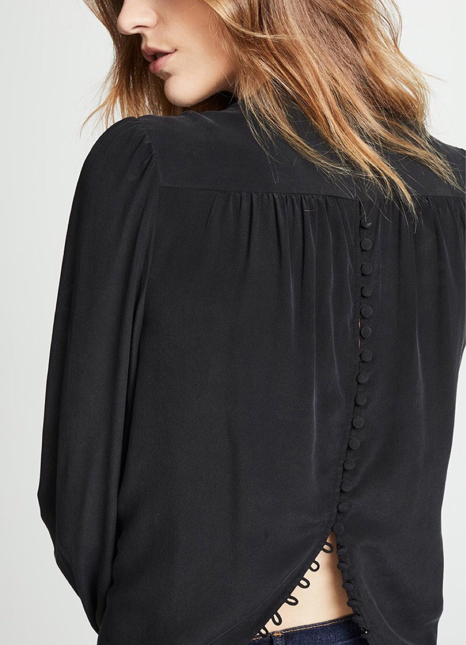 Women Shirt Back Buttoned Silk Shirt Heavy Duty Bag Buckle Sand Wash Silk 2019 Spring and