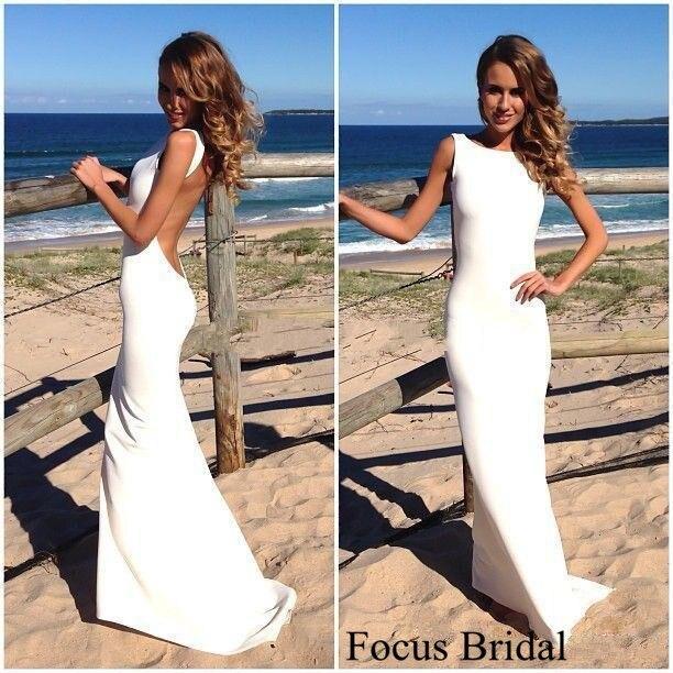 2014 Backless Vintage Beach Wedding Dresses Scalloped Neckline White ...