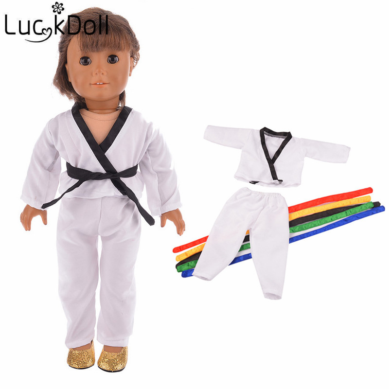 LUCKDOLL Taekwondo Suit  Fit 18 Inch American 43cm Baby Doll Clothes Accessories,Girls Toys,Generation,Birthday Gift